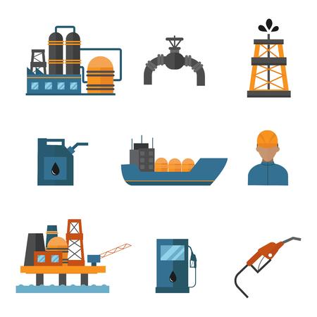 Illustration pour Mineral oil petroleum extraction production transportation factory logistic equipment vector icons illustration - image libre de droit