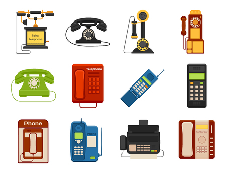 Illustration pour Vector vintage phones retro lod telephone call number connection device technology telephonic illustration - image libre de droit