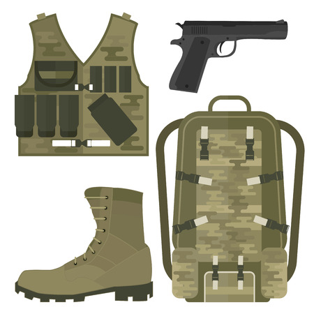 Ilustración de Military weapon guns armor forces american fighter ammunition camouflage sign vector illustration. - Imagen libre de derechos