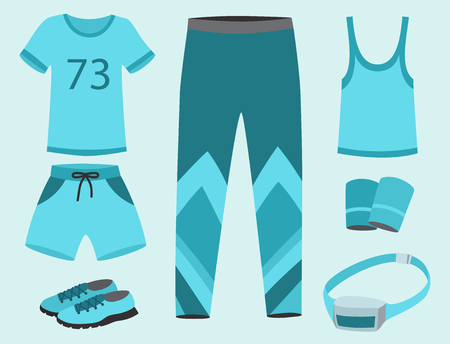 Illustration for Sportswear running clothes for sport workout vector illustration. - Royalty Free Image