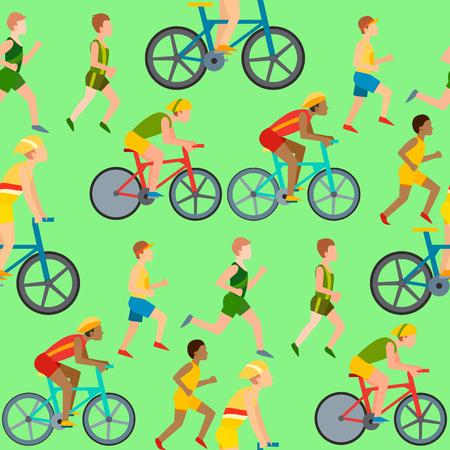 Ilustración de Athletic people jogging and cycling in seamless pattern. Healthy lifestyle vector illustration - Imagen libre de derechos