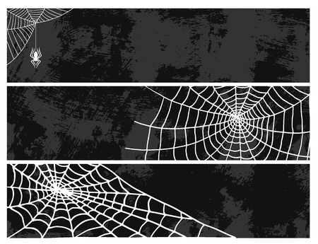 Ilustración de Spiders cards spider web silhouette spooky nature halloween element vector cobweb decoration fear spooky net. - Imagen libre de derechos