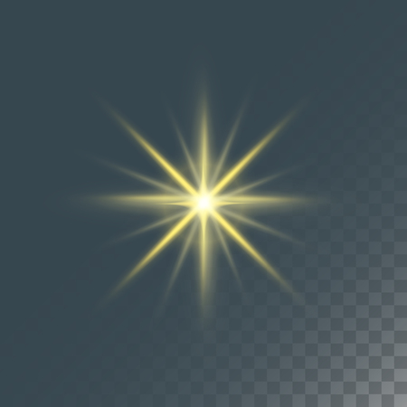 Illustration for Glowing lights effect and stars effect glow blur stars isolated on dark transparent background vector illustration. - Royalty Free Image