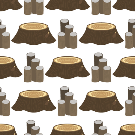 Illustration for Stacked wood pine timber for construction building cut stump lumber tree bark seamless pattern background vector illustration. - Royalty Free Image
