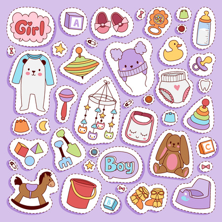 Illustration pour Infant small newborn baby clothes and toys icon set design textile casual fabric and infant dress. New born child kids garment wear illustration. Cute object suit infant cotton. - image libre de droit
