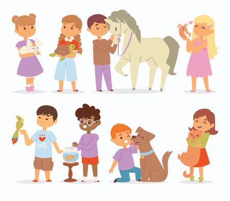 Ilustración de Toddler cartoon vector kids characters petting little pet in and cute kind child hold hug home pets animals lovely friends like horse pony, cat, dog, bird in the zoo pets friendship illustration - Imagen libre de derechos