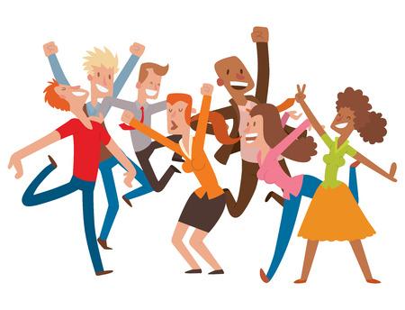 Illustration pour People jumping in celebration - image libre de droit