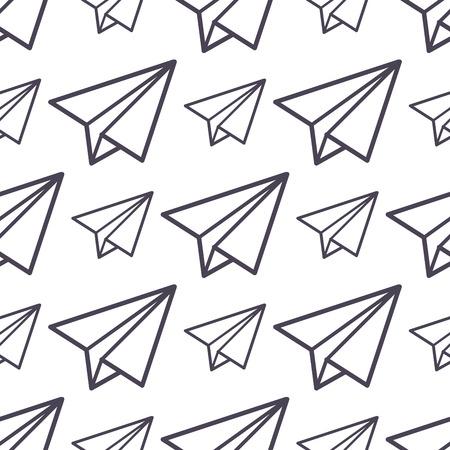 Ilustración de Paper plane vector icon seamless pattern business freedom concept background illustration fly paper plane isolated kids toy - Imagen libre de derechos
