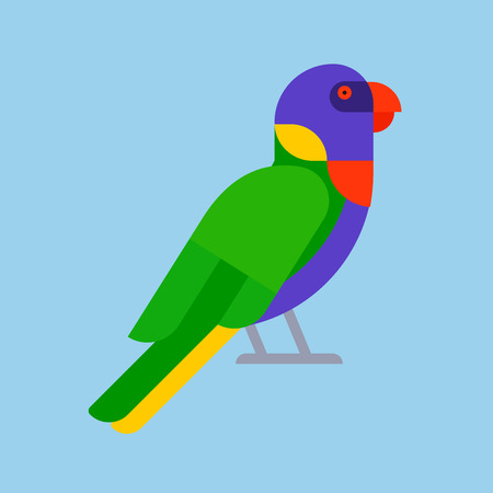 Ilustración de Parrot bird green breed species and animal nature tropical parakeets education colorful pet vector illustration. Macaw wild beak wing exotic color avian perch feather avifauna. - Imagen libre de derechos