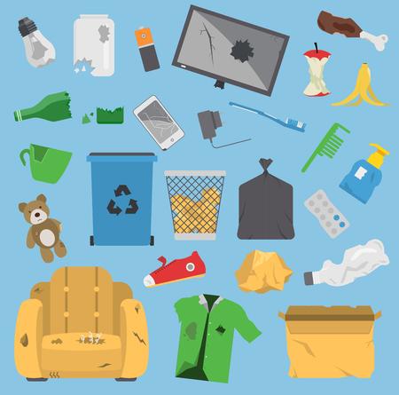 Ilustración de Recycling garbage vector trash elements trash bags tires management ecology industry garbage utilize concept. Garbage waste trash ecology paper can bottle recycling disposal box - Imagen libre de derechos