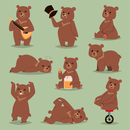 Ilustración de Cute cartoon vector bear emotions brown character. Happy smiling bear drawing mammal teddy smile. Cheerful mascot cartoon bear grizzly, young, baby animal zoo with honey, circus bike wheel. - Imagen libre de derechos
