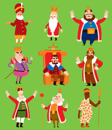 Illustration for Fairy tale costume of kings on different kingdom illustration. - Royalty Free Image