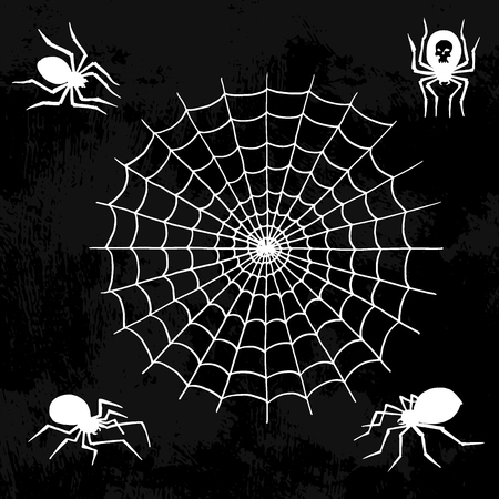 Illustration pour Spiders vector web silhouette spooky spider nature halloween element cobweb decoration fear spooky net. - image libre de droit