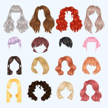 Ilustración de Female hairstyle illustration set - Imagen libre de derechos