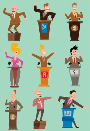 Illustration pour Orator with broad gestures behind podium set. - image libre de droit