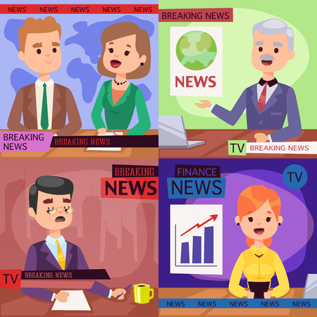 Illustration pour Vector Illustration anchorman breaking news and tv screen layout professional interview people in TV studio newsreader breaking news anchor. Communication broadcast newscaster anchor journalist. - image libre de droit