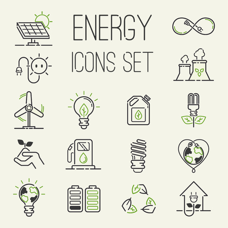 Ilustración de Vector green eco energy icons set energy icons power set battery oil environment nature. Nuclear house atom renewable energy icons. Light bulb electricity water nature eco renewable industry - Imagen libre de derechos