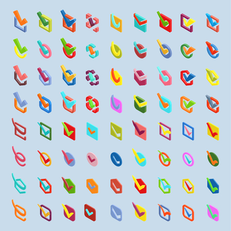 Illustration pour Check box isometric approve vector buttons icons set. Check vote icons vote mark sign choice yes symbol. Correct design check vote icons check mark right agreement voting form - image libre de droit