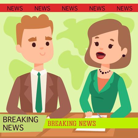 Ilustración de Illustration of anchor man breaking news and tv screen layout - Imagen libre de derechos