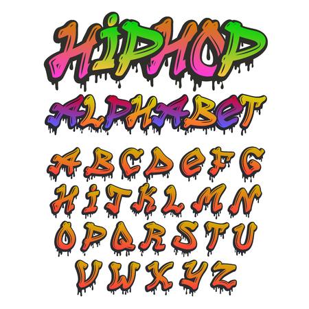 Illustration pour Graffity alphabet vector hand drawn grunge font paint symbol design ink style texture typeset - image libre de droit