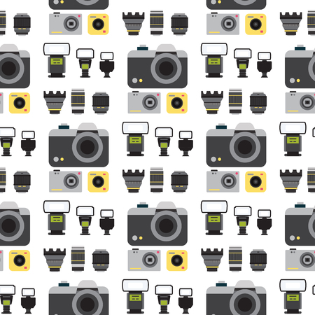 Illustration pour Camera photo vector studio flat optic lenses types objective retro photography equipment photography professional photographer look seamless pattern background illustration - image libre de droit