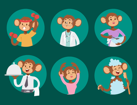 Illustration for Monkeys rare animal vector cartoon macaque like people nature primate character wild zoo ape chimpanzee illustration. - Royalty Free Image