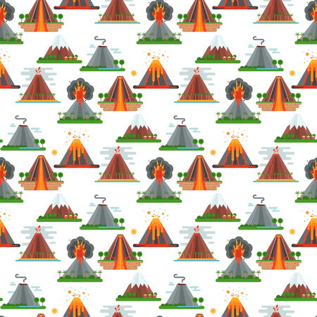 Illustration pour Volcano magma vector nature blowing up with smoke crater volcanic mountain hot natural eruption earthquake seamless pattern background illustration. - image libre de droit