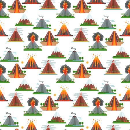 Ilustración de Volcano magma vector nature blowing up with smoke crater volcanic mountain hot natural eruption earthquake seamless pattern background illustration. - Imagen libre de derechos