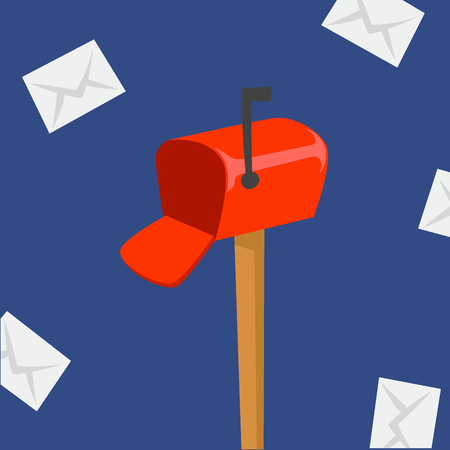 Illustration for Post box delivery vector courier occupation letterbox carrier mailing package mail shipping deliver professional tool with envelope. - Royalty Free Image