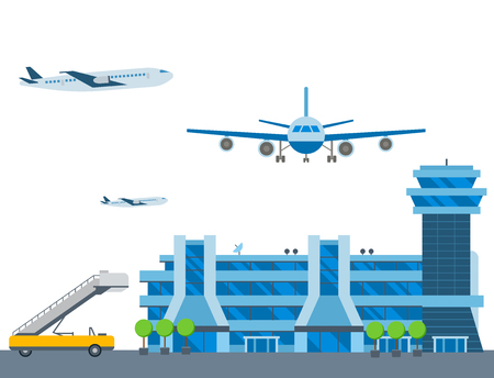 Illustration pour Aviation airport vector airline graphic airplane airport transportation fly travel symbol illustration - image libre de droit