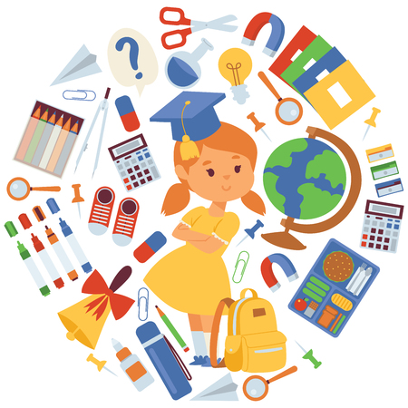 Illustration pour School items vector illustration. Cartoon girl with backpack supplies for studying, globe, scissors, copybooks pencils rubbers calculator bell clips magnifier magnet for banners and posters. - image libre de droit