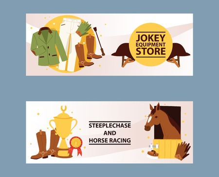 Ilustración de Banners for jockey equipment store. Champion in Horse racing competition. Hippodrome. Clothing for horse riding and stepplechase, jokey pants, gloves, jackets, leggings, helmet vector illustration. - Imagen libre de derechos