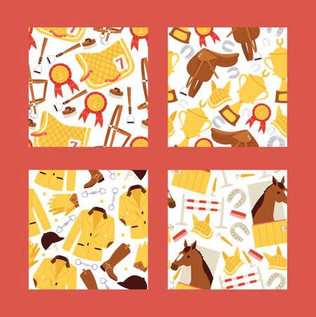 Ilustración de Cartoon jokey seamles pattern vector illustration. Horse in stable, saddle, stirrup, horseshoe, barriers, comb background. - Imagen libre de derechos