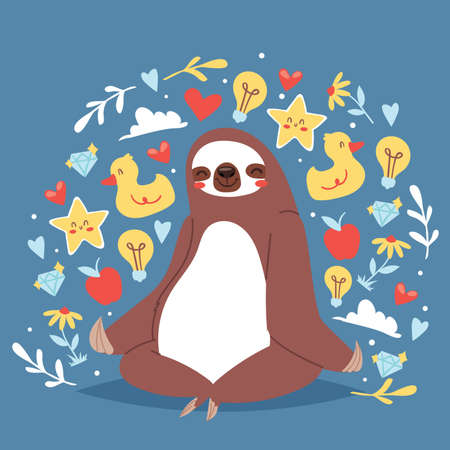Illustration for Funny sloth sitting in yoga lotus pose and relaxing vector illustration for banners. Cute sloth yoga. Cartoon animal background with icons of duck. Heart, diamond, flower, apple, star. - Royalty Free Image