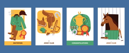 Ilustración de Jokey cards with clothing for horsemen, boots, trousers, helmet, gloves, equipment horse riding, harness, saddle, horseshoe winners in competition. Invitation and greeting card vector illustration. - Imagen libre de derechos