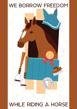 Ilustración de Cartoon jokey banner with horse in stable, equipment for horse riding, stirrup, horseshoe, equine with prize. Vector illustration with text We borrow fredom while riding a horse. - Imagen libre de derechos