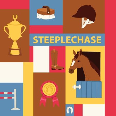 Ilustración de Jokey banner about steeplechase. Vector illustration with horse in stable, equipment for horse riding, prizes. Horseshoe, helmet, brush, boots, barrier, cup, medal. - Imagen libre de derechos