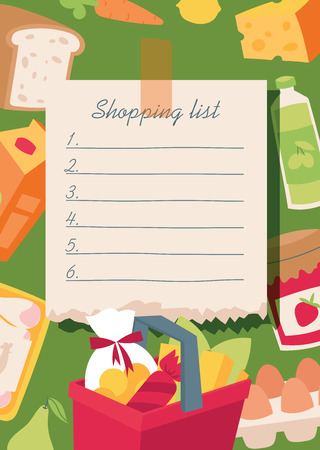 Illustration pour Shopping list vector illustration. Checklist food planning for market, everyday notebook with vegetables, basket, diary products, bread, juice, sausage, jam, egs, carrot milk cheese lemon - image libre de droit