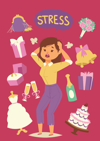Illustration pour Wedding stress concept. Bride pulling her hair and making a stressful facial expression vector illustration. Cartoon nervous woman with headache because of stressors. Time and financial management. - image libre de droit