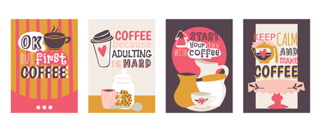 Illustration pour Coffee addiction set of cards vector illustration. Ok, but first coffee. Coffee because adulting is hard. Start your day with coffee. Keep calm and make coffee. Coffee table, pot, jar with cookies. - image libre de droit
