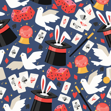 Ilustración de Magician vector seamless pattern illusionist show magic illusion playing cards and magical illusionism on backdrop and cartoon show performance with bunny dove background set illustration - Imagen libre de derechos