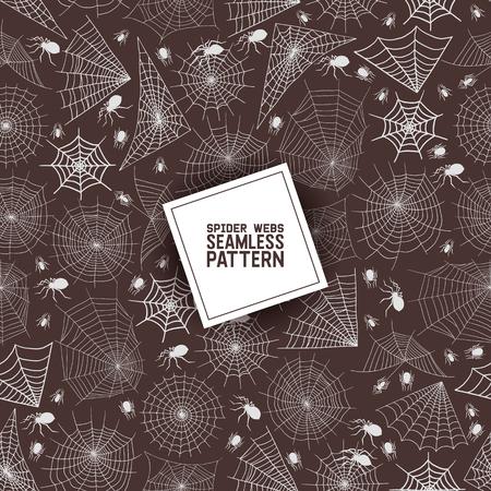 Illustration pour Web spider seamless pattern vector spidery halloween background spiderweb cobweb horror illustration backdrop of spider-web scary webbed net wallpaper. - image libre de droit