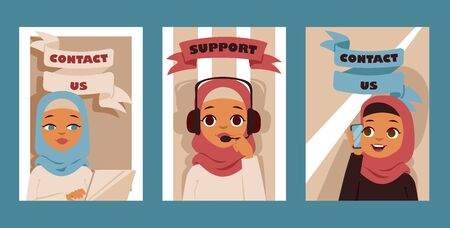 Illustration pour Arabic woman in call center occupation set of posters or cards. Customer support service characters. Vector illustration of arab or muslim people. Girls talking on mobile phone support. - image libre de droit