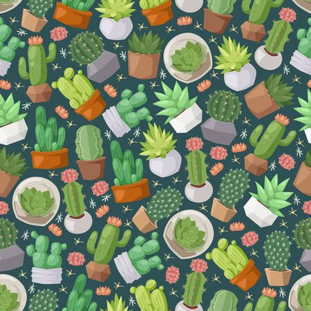 Illustration for Cactus and succulent plants seamless pattern, vector illustration. Isolated icons of cute houseplants, decorative cacti in flowerpots. Wrapping paper design, background print - Royalty Free Image