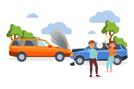 Illustration pour Car crash accident vector illustration with people cartoon characters having conflict because of vehicle damage caused by collision. Man and woman have an argument about insurance near broken auto. - image libre de droit