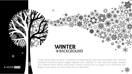Illustration for Various snowflakes on tree. Snowflakes wave background. Black and white vector illustration. - Royalty Free Image