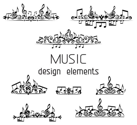 Illustration pour Page dividers, calligraphic design elements and page decoration with music notes and treble clefs isolated on white background. - image libre de droit