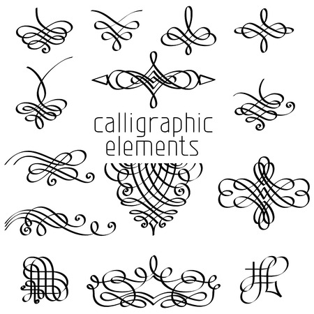 Foto de Vector set of calligraphic design elements. Page decorations, dividers, vintage frames and headers. - Imagen libre de derechos
