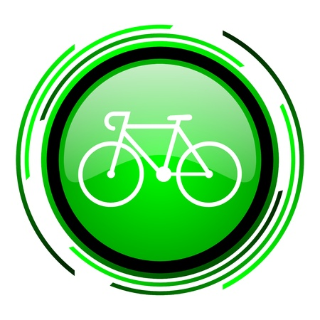 bicycle green circle glossy icon