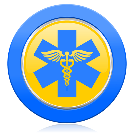 Photo for emergency blue yellow icon hospital sign - Royalty Free Image